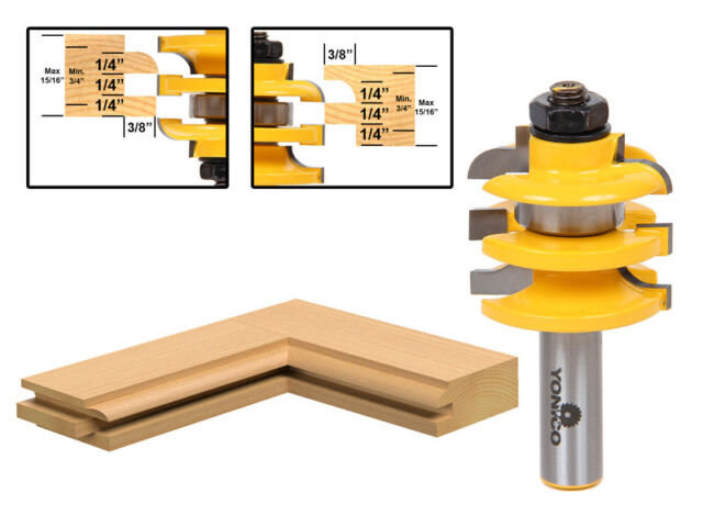 """1 Pc. Stacked Rail and Stile Router Bit - Cove - 1/2"""" Shank - Yonico 12119"""