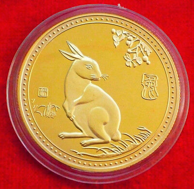 Exquisite Chinese Lunar Zodiac Year of the Rabbit Colored Silver Coin