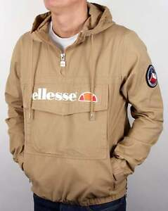 Details about Ellesse Mont Jacket in Tannin quarter zip smock overhead cotton canvas coat