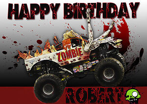 Large Zombie Monster Jam Monster Truck Party Cake Decoration
