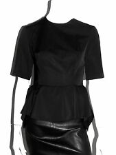 MIU MIU BY PRADA BLUSE SATIN SCHWARZ BLOUSE BLACK IT:44 DE:38 NEU !!!