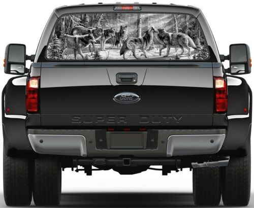 Snow Winter Trees B//W Rear Window Graphic Decal Truck SUV 6 Wolves in Forest