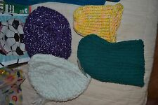 ~ COLORFUL ASSORTMENT HAND CROCHETED TOBOGGAN KNIT HAT 4 TOTAL LOT HAT FOUR ~