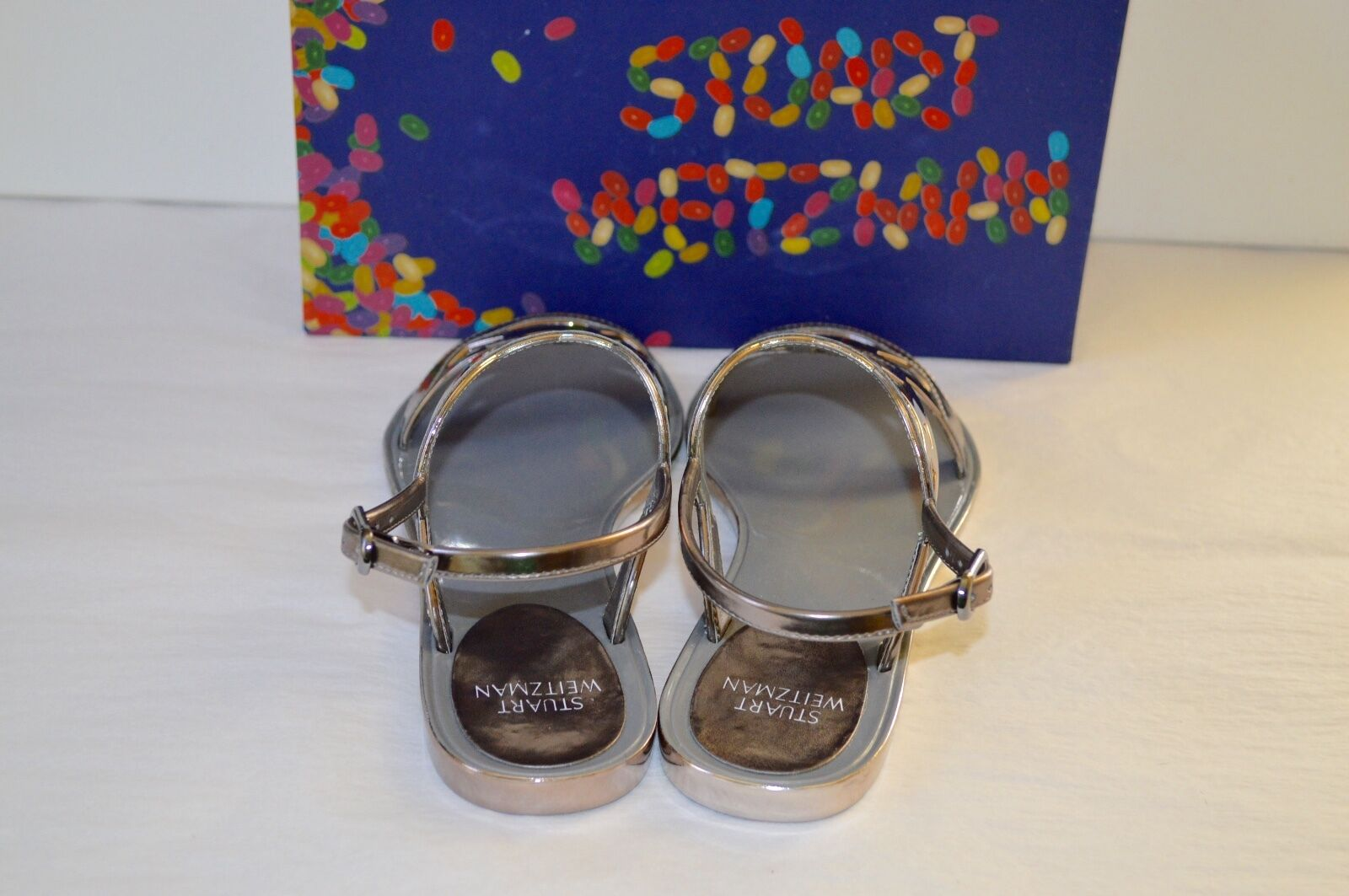 New 235 Jelly Stuart Weitzman Gelfisher Gel Fisher Graphite Silver Jelly 235 Sandale sz 7 312bc1