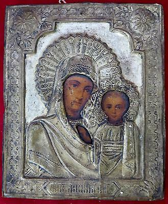 ANTIQUE OUR LADY OF KAZAN RELIGIOUS ICON RUSSIAN VIRGIN MARY MOTHER OF GOD ART ^