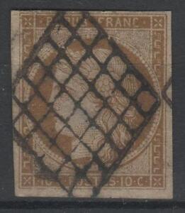 FRANCE-STAMP-TIMBRE-N-1-a-034-CERES-10c-BISTRE-BRUN-1850-034-OBLITERE-TB-A-VOIR-N519
