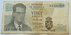 Banknote-Belgium-Billet-Belgique-20-Francs-Frank-1964-Roi-Baudouin-Belgie