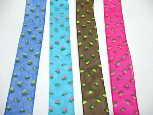 """1/""""  PRINTED ORGANZA RIBBON CUTE LITTLE FLOWER ON  COLOR RIBBON"""