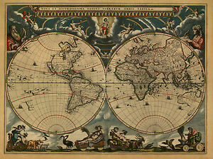 Blaeu World Map.1664 World Map Joan Blaeu Antique America Europe Beautiful 20