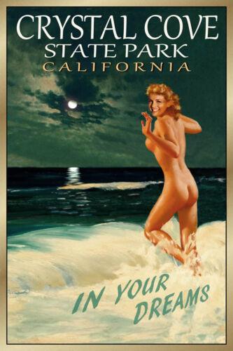 Crystal Cove California Travel Poster Marilyn Monroe Beach Pin Up Art Print 171