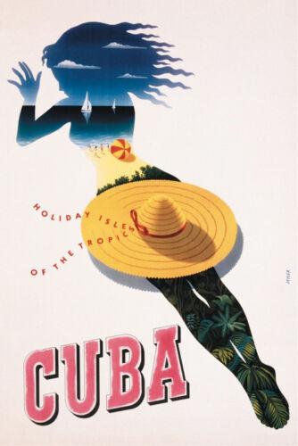 CUBAN TRAVEL ART PRINT Cuba Holiday Isle of the Tropics by Seyler 36x24 Poster