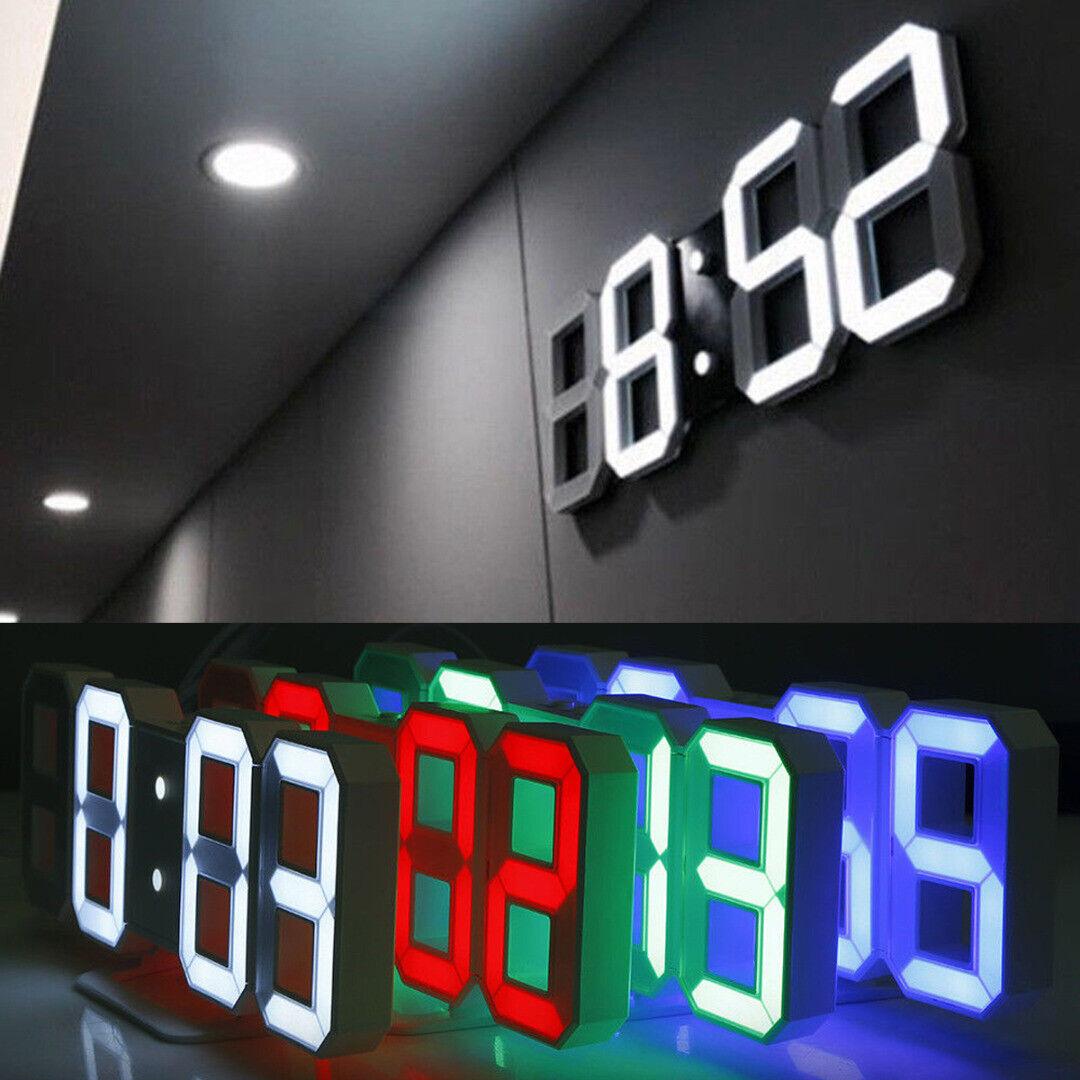 3D LED Digital Clock Table Wall Clock Electronic USB Alarm Display Dimmer Modern