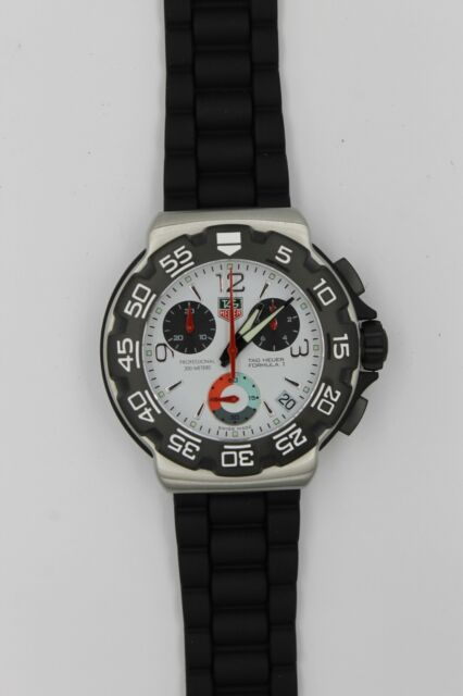 Tag Heuer Cac1111 Bt0705 Formula 1 White Black Rubber Chronograph Watch Mens F1