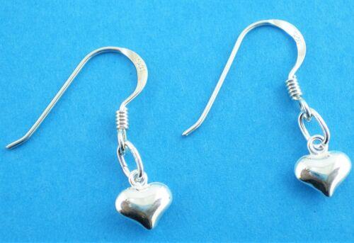 Soplo de plata esterlina 925 Corazón Pendientes Colgantes De Gancho 6mm a través de