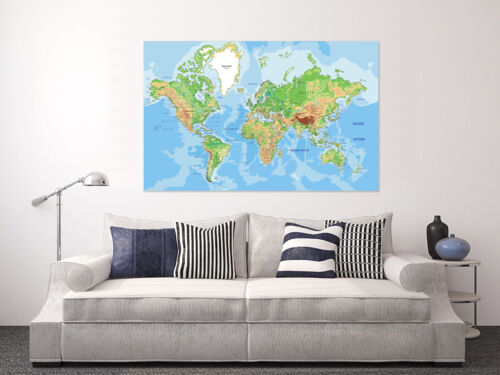 3D Large world map art Wall Stickers Vinyl Murals Wall Print Deco Art AJSTORE UK
