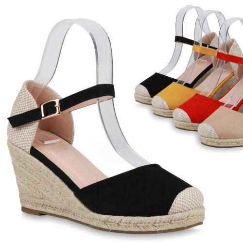 Damen Sandaletten Keilsandaletten Wedges Bast Sommer Keilabsatz 832892 Trendy