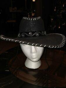 MEN'S WESTERN COWBOY RODEO HAT BLACK FELT STYLE GLITTER/STONES