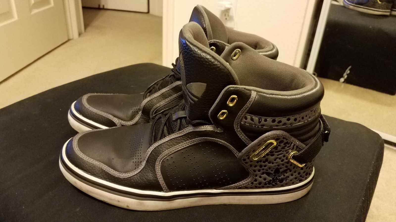 Adidas Originals Adi-Rise Mid Tops Black/White/Grey Sneakers Sz 10 The latest discount shoes for men and women