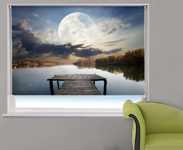 Moon over the Pier Lake Space Photo Printed Roller Blind Picture Blinds any Größe