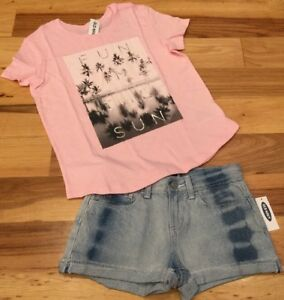 Old-Navy-Girls-Size-10-Outfit-Pink-Fun-In-Sun-Shirt-amp-Denim-Tie-Dye-Shorts-Nwt