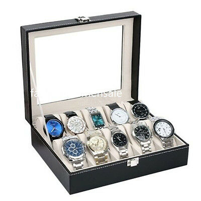 PU Leather 10 Slots Wrist Watch Display Box Storage Holder Organizer Case FE
