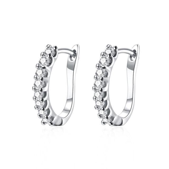 Ladies 14ct 9ct White Gold GF Lab diamond 15mm Small Hoop Huggies Earrings