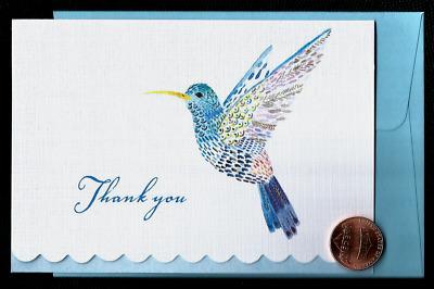 SMALL Blank Note Card THANK YOU Beautiful Blue Hummingbird *GOLD SHINE* NEW