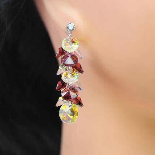 Mix de Couleur Cristal à Facette Rondelle Verre Perles Pendentif Dangle Boucles d/'oreilles Clous d/'oreilles