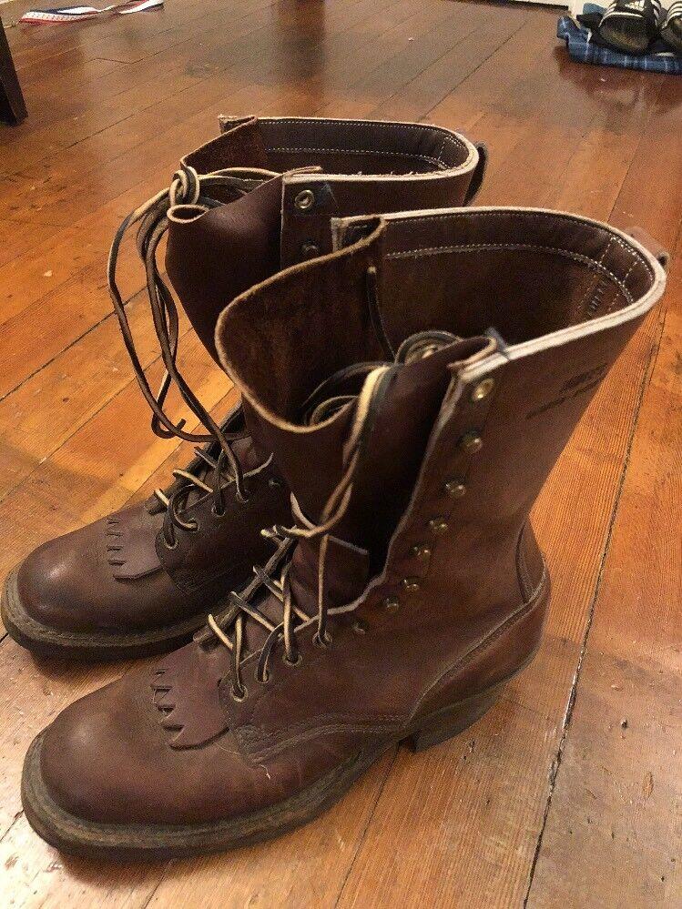Bianca's Handmade Spokane Marroneee leather  Work stivali men's 9B donna's 11