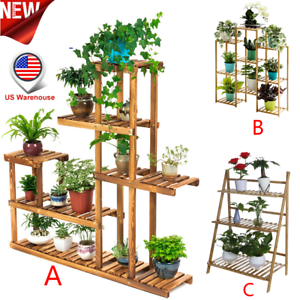 Multi-Tier-Wood-Plant-Stand-Planter-Rack-Flower-Pots-Holder-Display-USA-Lot
