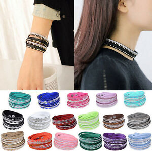 Wrap-Rhinestone-Fashion-New-Crystal-Leather-Cuff-Punk-Bracelet-Bangle-Wristband