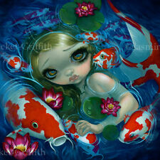 Jasmine Becket-Griffith art print mermaid fish pond SIGNED Swimming with Koi