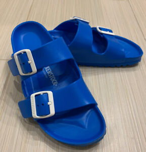 Women-s-Birkenstock-Arizona-Footbed-Sandals-Size-37-Blue-Excellent-Cond