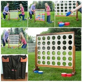 fd4946af Details about Jumbo Giant Connect Four 4 in a row Wooden Play Yard Home  Game Kids Adults Board