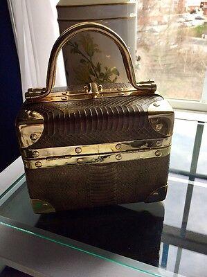 La Regale vintage snakeskin and gold tone box purse