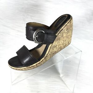 fe6162fe6 Boc By Born women s Wedge Sandals Slides brown leather size 10 M