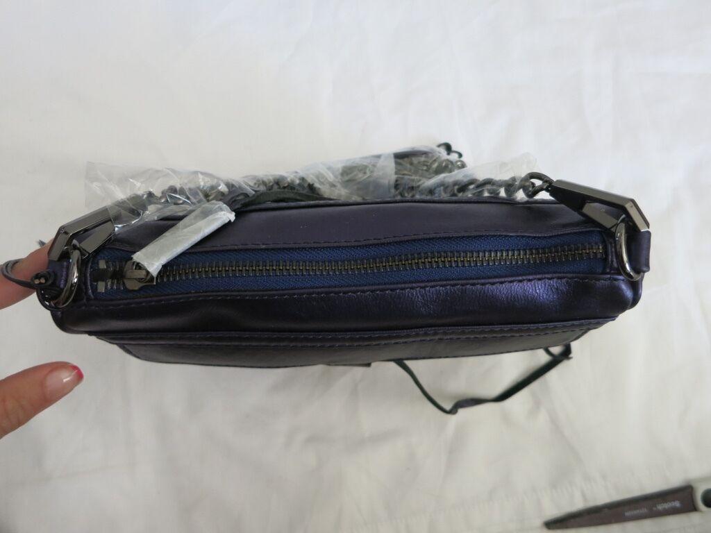Rebecca Minkoff H10ZGMLCH02 Metallic Navy Mini Mac Clutch purse NEW Bag Shoulder