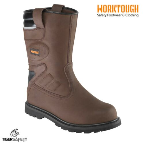 Worktough S1P HRO SRC Waxy Brown Heavy Duty Work Safety Rigger Boots PPE