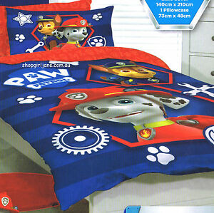 paw patrol - marshall & chase - single/us twin bed quilt doona