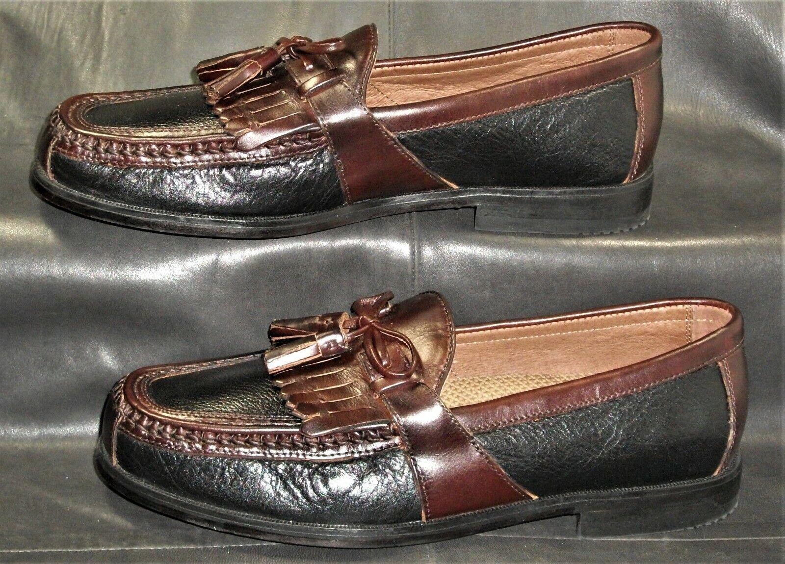 Johnston & Murphy Aragon II black/burgundy leather loafer Men's shoes sz 7 1/2M