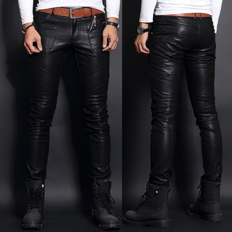 Mens Casual Slim Fit Motorcycle Trousers PU Leather Zipper Punk Skinny Pants Hot