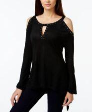 INC International Concepts Studded Cold Shoulder Top Deep Black XL
