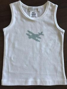 BNIP Boy/'s Sz 4 Lulu /& George Brand Pure Cotton Aeroplane Logo Singlet//Tank Top