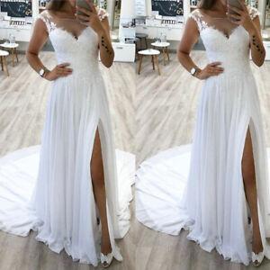 Wedding-Dress-Boho-Chiffon-Long-Side-Slit-A-Line-Bridal-Gowns-Beach-Simple-Gown