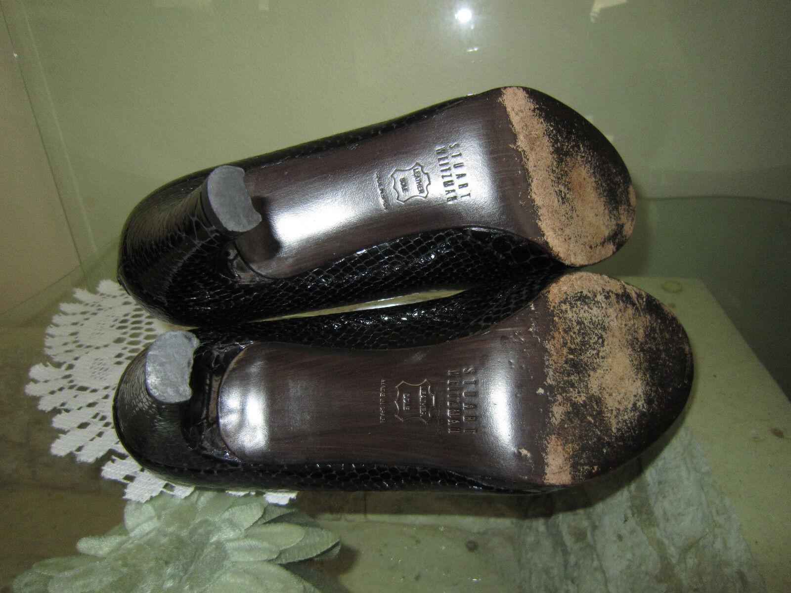 Stuart Weitzman Black Black Black Patent Leather Peep Toe Croc Classic Pump Sz 6 1 2 M e9b7d8