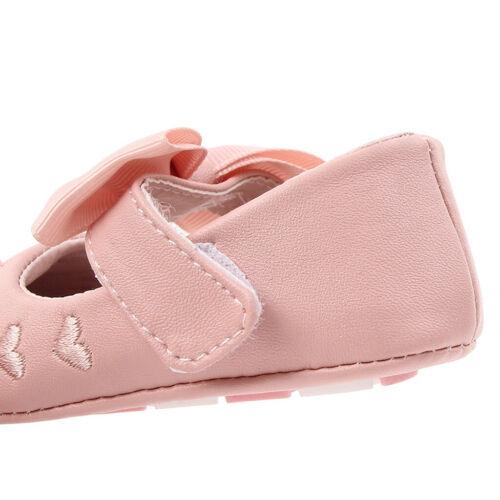 UK Newborn Baby Girl Crib Pram Shoes Bow Soft Sole First Walkers Shoes Prewalker