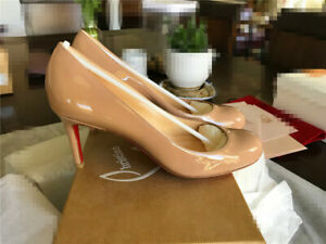 uk availability 37877 90b59 Details about Auth. Rare Brand New Christian Louboutin Simple Pump 70 Nude  Patent 36.5