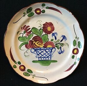 Plate-Earthenware-to-Identify-XIX-Th-Decor-Floral-Flowers