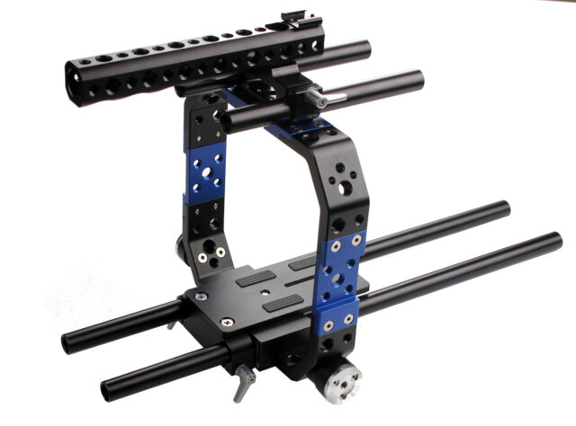 DSLR 15mm Rod Cage Protection Brackets Baseplate Mount For Blackmagic BMCC C300