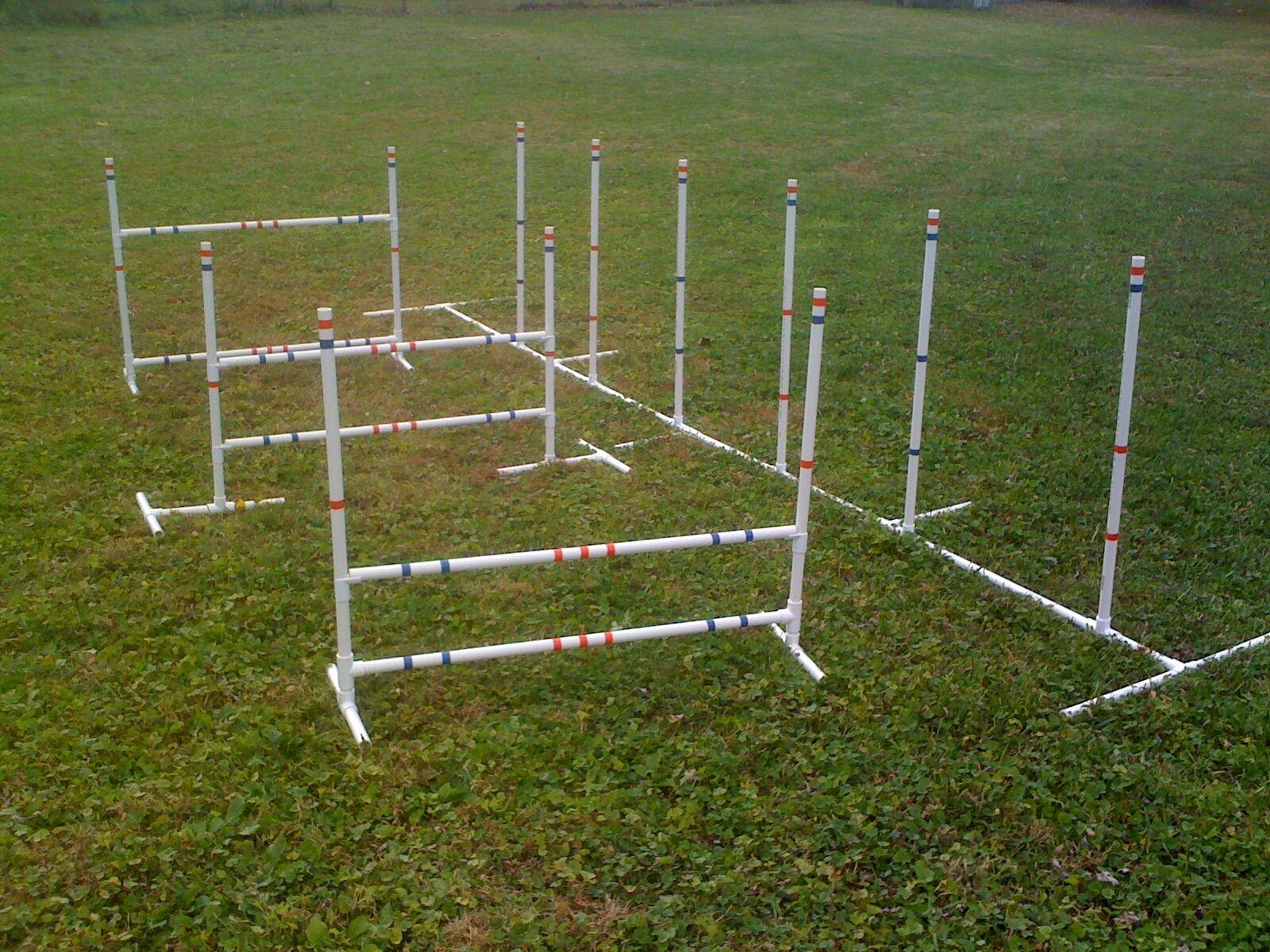 Dog Agility Equipment Combo 3 Jump Set and 6 Adjustable Weave Poles Free Ship